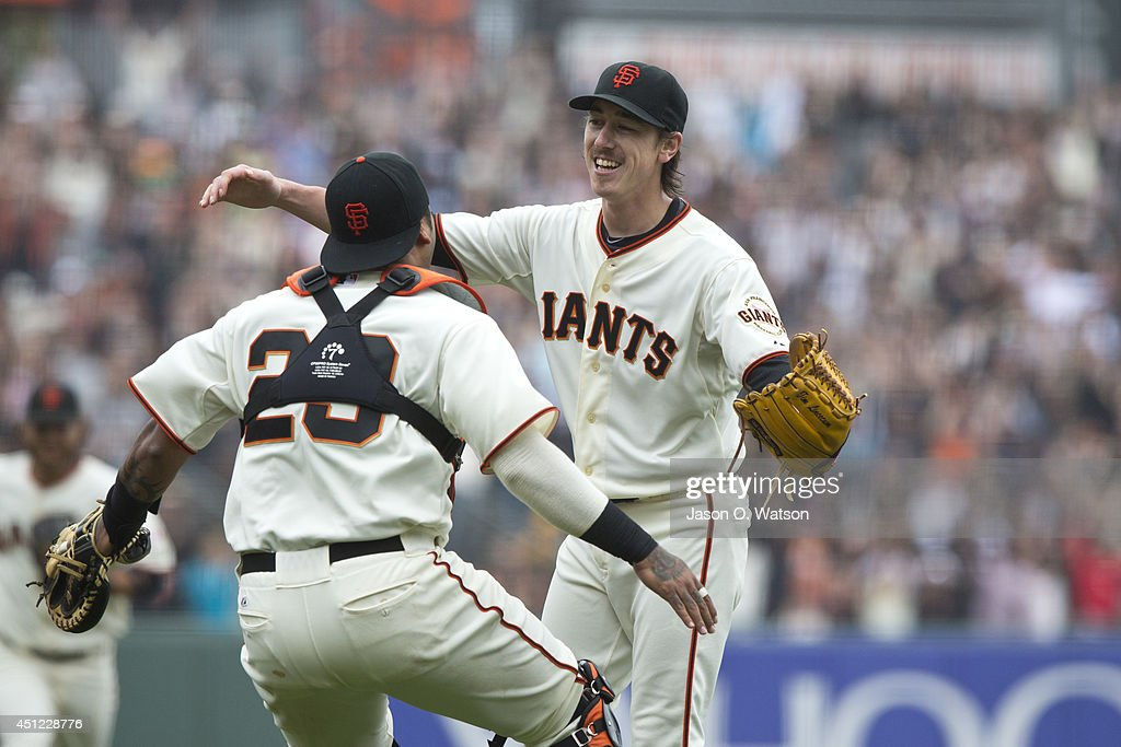 <a gi-track='captionPersonalityLinkClicked' href=/galleries/search?phrase=Tim+Lincecum&family=editorial&specificpeople=4175405 ng-click='$event.stopPropagation()'>Tim Lincecum</a> #55 of the San Francisco Giants celebrates with Hector Sanchez #29 after the game at AT&T Park on June 25, 2014 in San Francisco, California. <a gi-track='captionPersonalityLinkClicked' href=/galleries/search?phrase=Tim+Lincecum&family=editorial&specificpeople=4175405 ng-click='$event.stopPropagation()'>Tim Lincecum</a> threw his second career no-hitter as the San Francisco Giants defeated the San Diego Padres 4-0.
