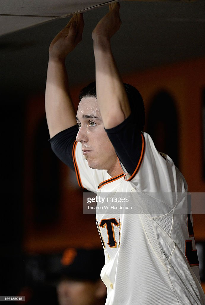 <a gi-track='captionPersonalityLinkClicked' href=/galleries/search?phrase=Tim+Lincecum&family=editorial&specificpeople=4175405 ng-click='$event.stopPropagation()'>Tim Lincecum</a> #55 of the San Francisco Giants looks on from the dugout against the Colorado Rockies in the bottom of the fifth inning at AT&T Park on April 9, 2013 in San Francisco, California.