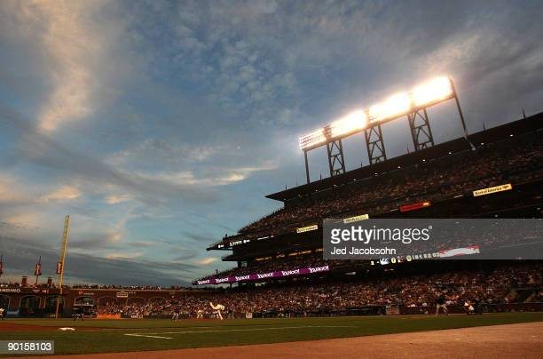 Tim Lincecum of the San Francisco Giants pitches against the Colorado Rockies during a Major League Baseball game at ATT Park on August 28 2009 in...