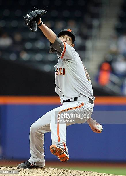 Tim Lincecum of the San Francisco Giants pitches against the New York Mets at Citi Field on April 23 2012 in the Flushing neighborhood of the Queens...