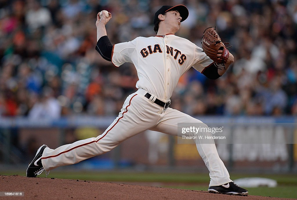 <a gi-track='captionPersonalityLinkClicked' href=/galleries/search?phrase=Tim+Lincecum&family=editorial&specificpeople=4175405 ng-click='$event.stopPropagation()'>Tim Lincecum</a> #55 of the San Francisco Giants pitches against the Oakland Athletics in the first inning at AT&T Park on May 29, 2013 in San Francisco, California.