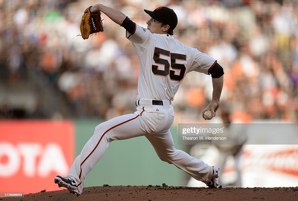 <a gi-track='captionPersonalityLinkClicked' href=/galleries/search?phrase=Tim+Lincecum&family=editorial&specificpeople=4175405 ng-click='$event.stopPropagation()'>Tim Lincecum</a> #55 of the San Francisco Giants pitches against the Pittsburgh Pirates at AT&T Park on August 24, 2013 in San Francisco, California.