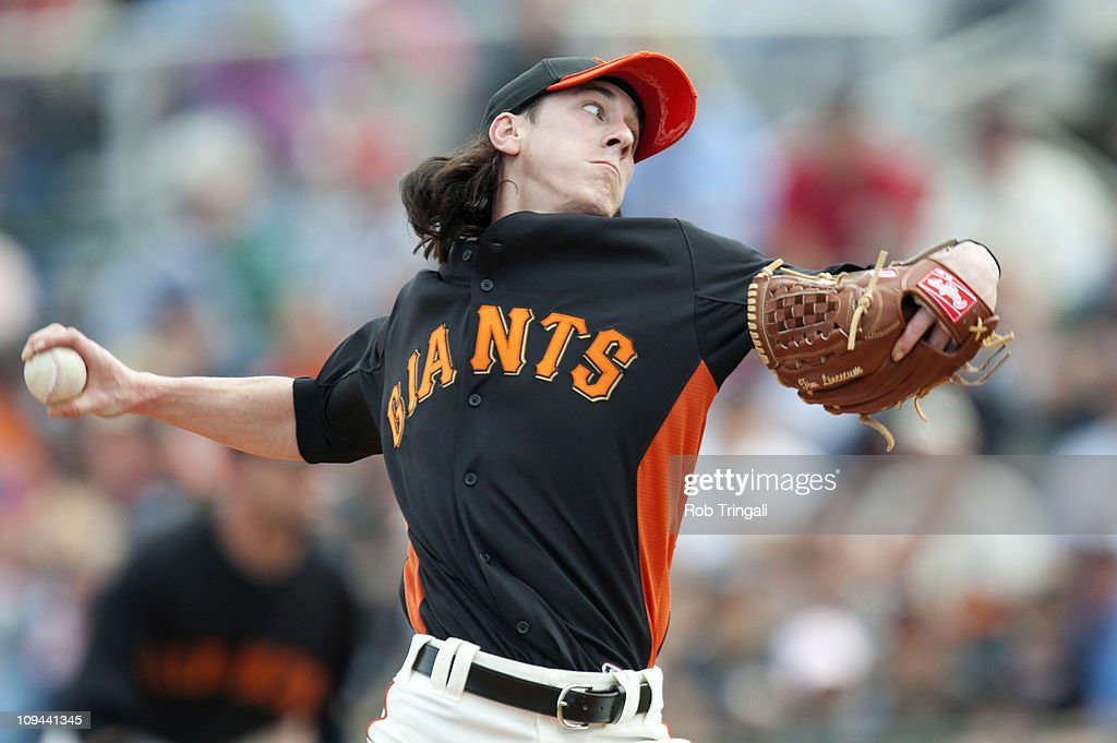 Tim Lincecum of the San Francisco Giants pitches during a spring training game against the Arizona Diamondbacks at Scottsdale Stadium on February 25...