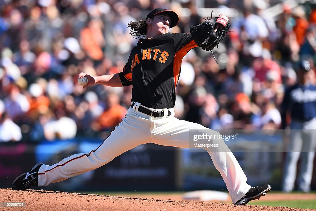 Tim Lincecum of the San Francisco Giants pitches during the spring training game between the San Francisco Giants and the San Diego Padres at the...