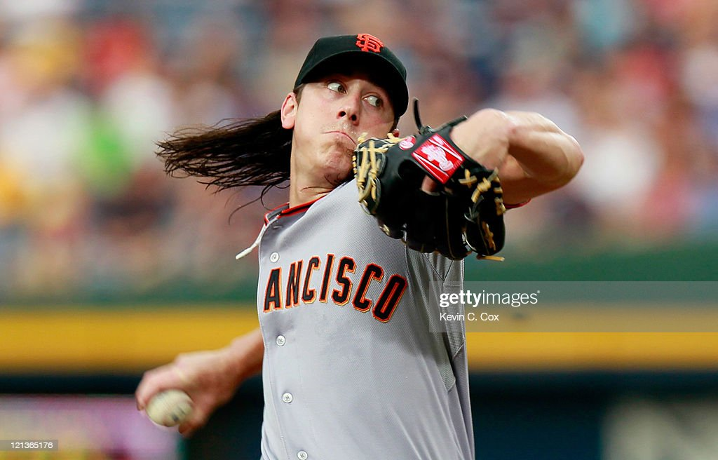 <a gi-track='captionPersonalityLinkClicked' href=/galleries/search?phrase=Tim+Lincecum&family=editorial&specificpeople=4175405 ng-click='$event.stopPropagation()'>Tim Lincecum</a> #55 of the San Francisco Giants pitches to the Atlanta Braves at Turner Field on August 18, 2011 in Atlanta, Georgia.