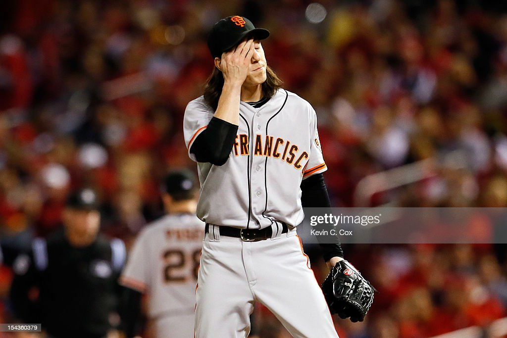 <a gi-track='captionPersonalityLinkClicked' href=/galleries/search?phrase=Tim+Lincecum&family=editorial&specificpeople=4175405 ng-click='$event.stopPropagation()'>Tim Lincecum</a> #55 of the San Francisco Giants reacts in the first inning while taking on the St. Louis Cardinals in Game Four of the National League Championship Series at Busch Stadium on October 18, 2012 in St Louis, Missouri.
