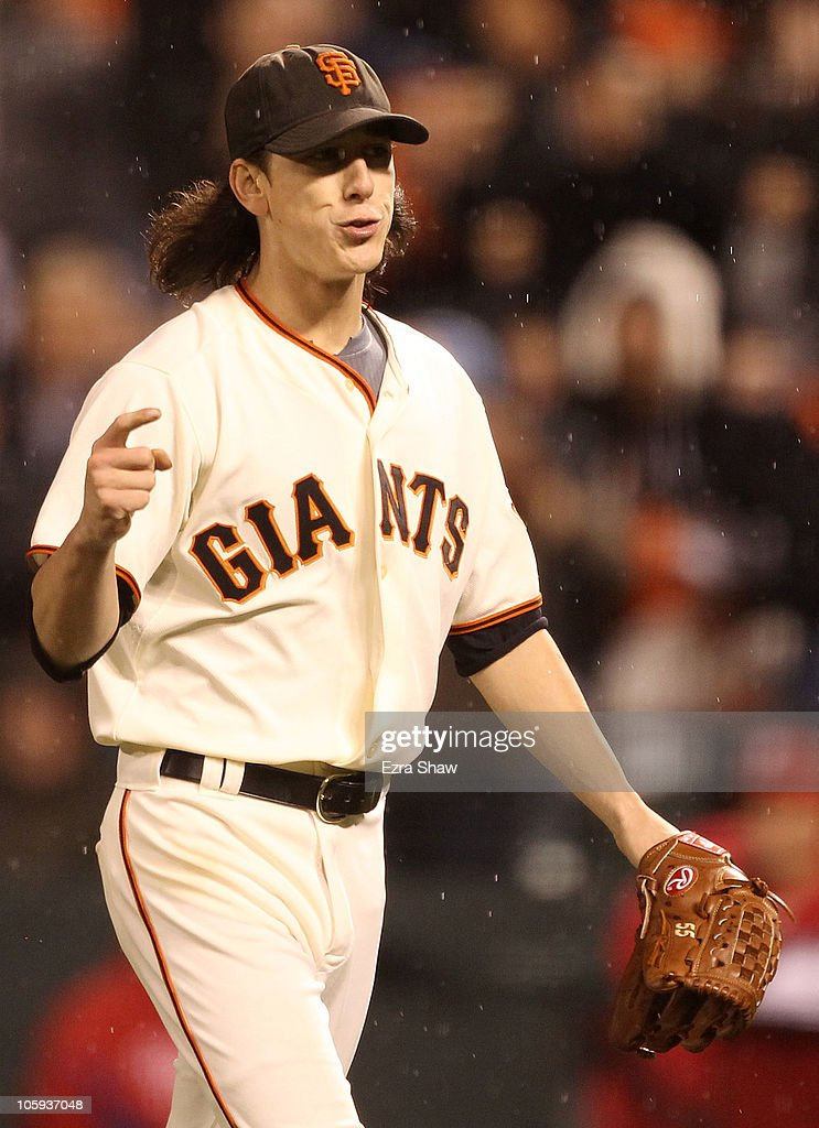 <a gi-track='captionPersonalityLinkClicked' href=/galleries/search?phrase=Tim+Lincecum&family=editorial&specificpeople=4175405 ng-click='$event.stopPropagation()'>Tim Lincecum</a> #55 of the San Francisco Giants reacts in the seventh inning after a double play while taking on the Philadelphia Phillies in Game Five of the NLCS during the 2010 MLB Playoffs at AT&T Park on October 21, 2010 in San Francisco, California.