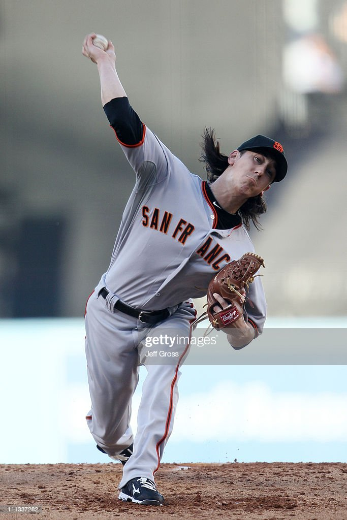<a gi-track='captionPersonalityLinkClicked' href=/galleries/search?phrase=Tim+Lincecum&family=editorial&specificpeople=4175405 ng-click='$event.stopPropagation()'>Tim Lincecum</a> #55 of the San Francisco Giants throws a pitch against the Los Angeles Dodgers on Opening Day at Dodger Stadium on March 31, 2011 in Los Angeles, California.