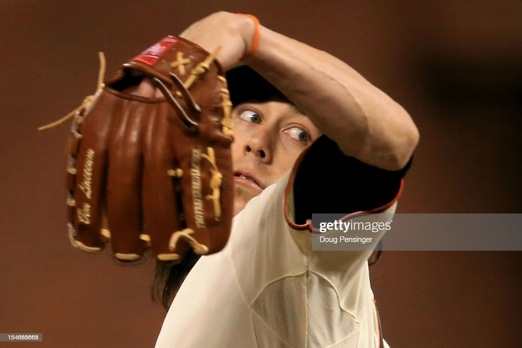 <a gi-track='captionPersonalityLinkClicked' href=/galleries/search?phrase=Tim+Lincecum&family=editorial&specificpeople=4175405 ng-click='$event.stopPropagation()'>Tim Lincecum</a> #55 of the San Francisco Giants throws a pitch against the Detroit Tigers during Game One of the Major League Baseball World Series at AT&T Park on October 24, 2012 in San Francisco, California.