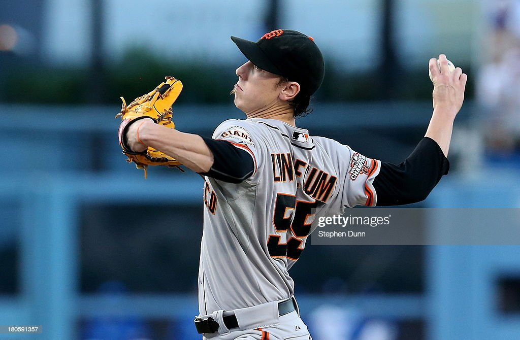 <a gi-track='captionPersonalityLinkClicked' href=/galleries/search?phrase=Tim+Lincecum&family=editorial&specificpeople=4175405 ng-click='$event.stopPropagation()'>Tim Lincecum</a> #55 of the San Francisco Giants throws a pitch against the Los Angeles Dodgers at Dodger Stadium on September 14, 2013 in Los Angeles, California.