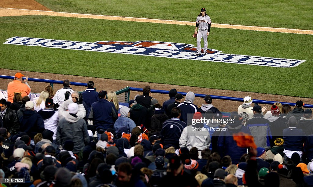 Tim Lincecum #55 of the San Francisco Giants walks to the dugout after striking out Quintin Berry #52 of the Detroit Tigers to end the seventh inning during Game Three of the Major League Baseball World Series at Comerica Park on October 27, 2012 in Detroit, Michigan.