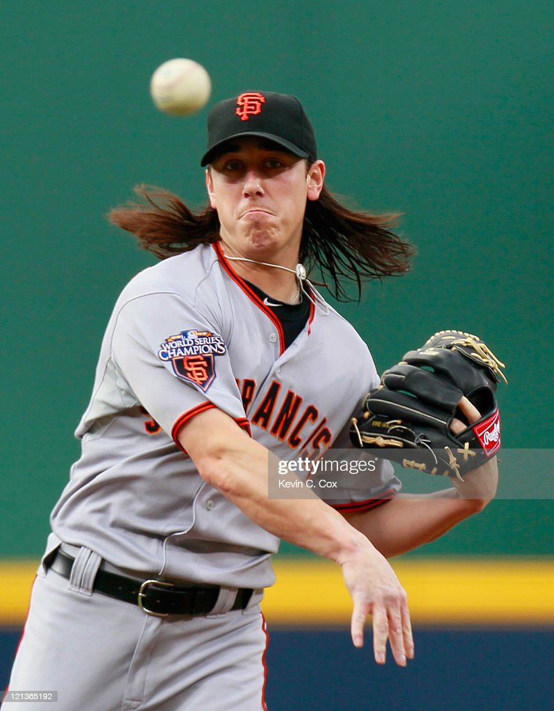 <a gi-track='captionPersonalityLinkClicked' href=/galleries/search?phrase=Tim+Lincecum&family=editorial&specificpeople=4175405 ng-click='$event.stopPropagation()'>Tim Lincecum</a> #55 of the San Francisco Giants warms up before pitching to the Atlanta Braves at Turner Field on August 18, 2011 in Atlanta, Georgia.