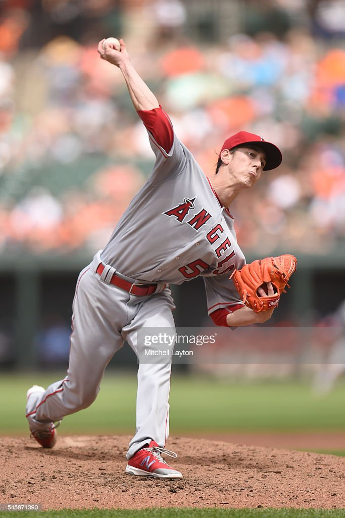 Tim Linecum #55 of the Los Angeles Angels of Anaheim pitches in the third inning during a baseball game against the Baltimore Orioles at Oriole Park at Camden Yards on July 10, 2016 in Baltimore, Maryland.