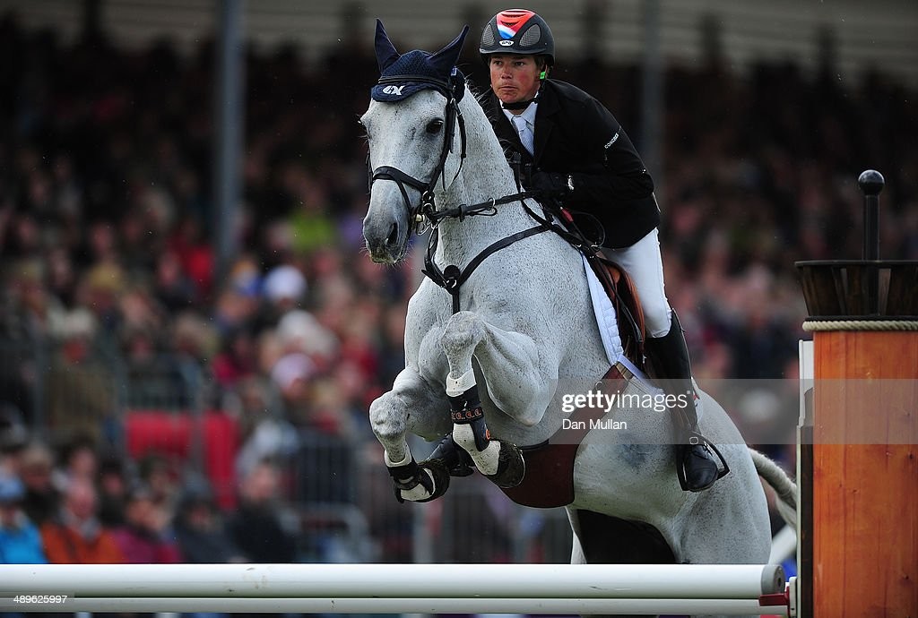 Tim Lips of The Netherlands riding Keyflow NOP during the Show Jumping on day five of the Badminton Horse Trials on May 11, 2014 in Badminton, England.