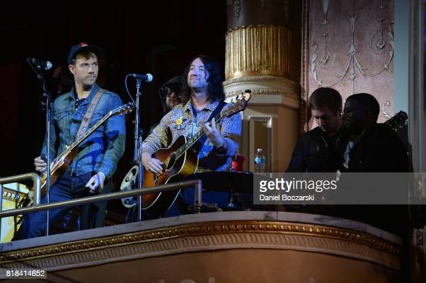 Tim Lopez Tom Higgenson Dave Tirio and De'Mar Hamilton of The Plain White T's perform during the 2017 Alternative Press Music Awards at KeyBank State...