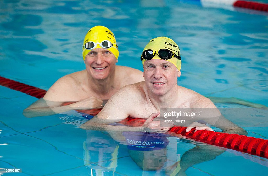 Tim Lovejoy and <a gi-track='captionPersonalityLinkClicked' href=/galleries/search?phrase=Duncan+Goodhew&family=editorial&specificpeople=899366 ng-click='$event.stopPropagation()'>Duncan Goodhew</a> attend a photocall to announce the 2013 Swimathon Squad on January 16, 2013 in London, England.