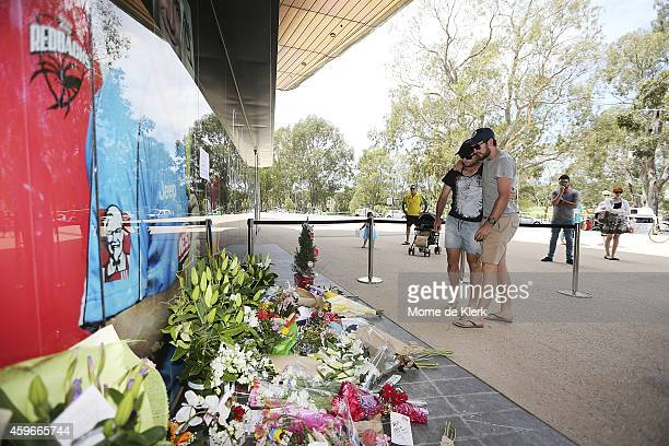 Tim Ludeman and Chadd Sayers former teammates of Phil Hughes is seen paying their respects outside the Adelaide Oval on November 28 2014 in Adelaide...