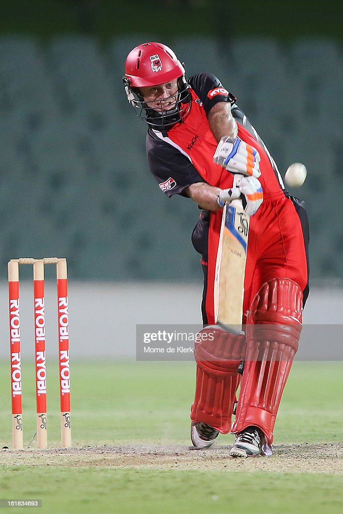 Tim Ludeman of the Redbacks bats during the Ryobi One Day Cup match between the South Australian Redbacks and the New South Wales Blues at Adelaide Oval on February 17, 2013 in Adelaide, Australia.
