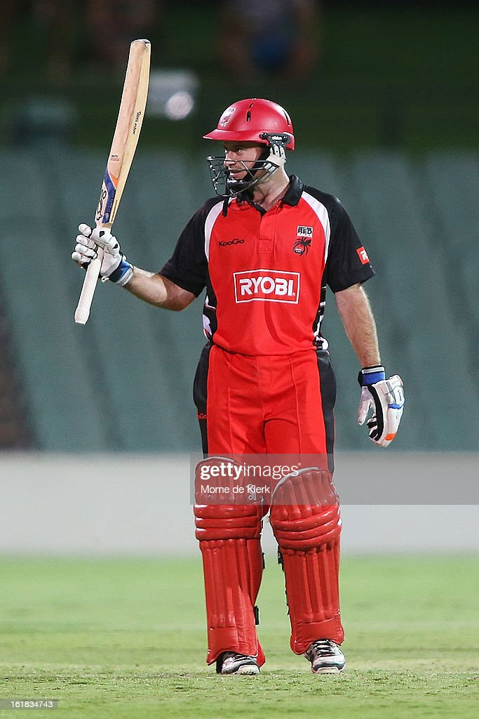 Tim Ludeman of the Redbacks celebrates after reaching 50 runs during the Ryobi One Day Cup match between the South Australian Redbacks and the New South Wales Blues at Adelaide Oval on February 17, 2013 in Adelaide, Australia.