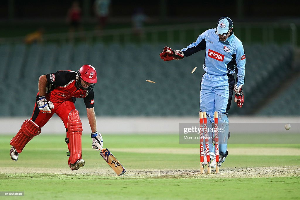 Tim Ludeman of the Redbacks makes his ground during the Ryobi One Day Cup match between the South Australian Redbacks and the New South Wales Blues at Adelaide Oval on February 17, 2013 in Adelaide, Australia.