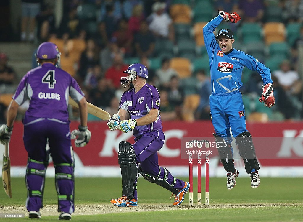 Tim Ludeman of the Strikers celebrates the wicket of <a gi-track='captionPersonalityLinkClicked' href=/galleries/search?phrase=Scott+Styris&family=editorial&specificpeople=216551 ng-click='$event.stopPropagation()'>Scott Styris</a> of the Hurricanes during the Big Bash League match between the Hobart Hurricanes and the Adelaide Strikers at Blundstone Arena on January 5, 2013 in Hobart, Australia.