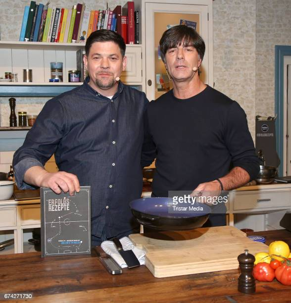 Tim Maelzer and Jogi Loew during the Nivea Men Photo Call at on April 27 2017 in Hamburg Germany