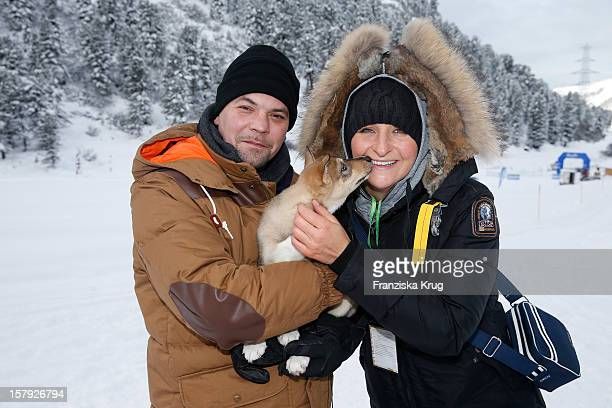 Tim Maelzer and Nina Heik attends the Tirol Cross Mountain Sledge Dog Race Training on December 07 in Kuehtai Austria