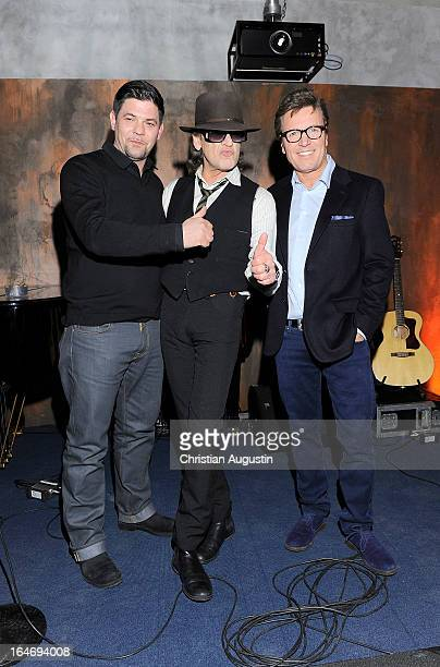 Tim Maelzer Udo Lindenberg and Bernd Dopp attend 'Ich mach mein Ding' Live Tour DVD Presentation at 'Tim kocht' Studio on March 26 2013 in Hamburg...