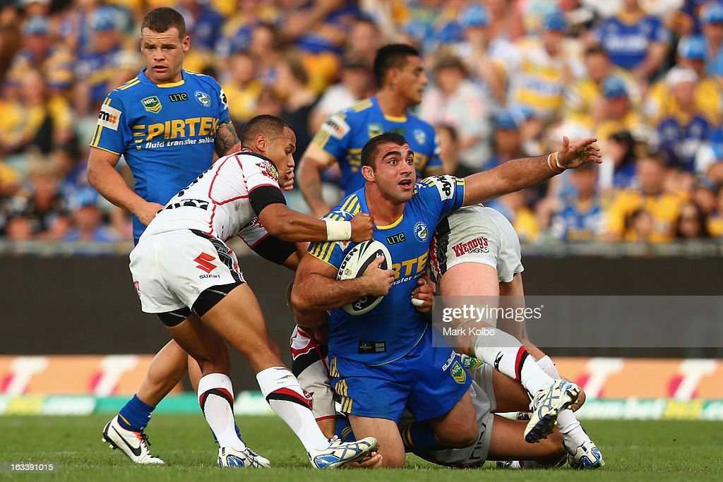 Tim Mannah of the Eels appeals to the referee as he is tackled during the round one NRL match between the Parramatta Eels and the Warriors at Parramatta Stadium on March 9, 2013 in Sydney, Australia.