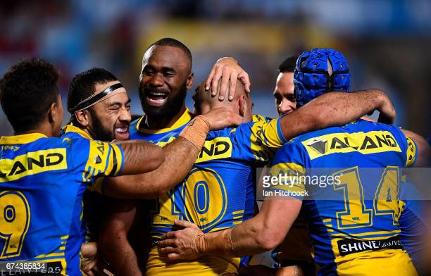Tim Mannah of the Eels celebrates after scoring a try during the round nine NRL match between the North Queensland Cowboys and the Parramatta Eels at...