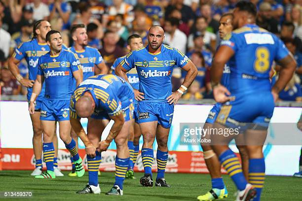 Tim Mannah of the Eels looks dejected after a Broncos try during the round one NRL match between the Parramatta Eels and the Brisbane Broncos at...