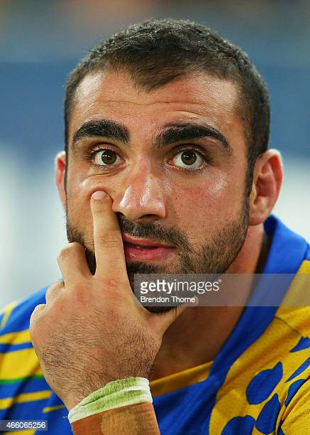 Tim Mannah of the Eels looks on during the round two NRL match between the Canterbury Bulldogs and the Parramatta Eels at ANZ Stadium on March 13...