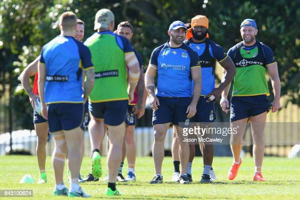Tim Mannah Semi Radradra and David Gower of the Eels during a Parramatta Eels NRL training session at Old Saleyards Reserve on September 6 2017 in...