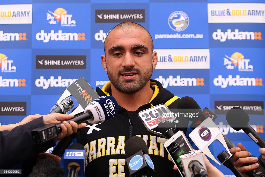 Tim Mannah talks to the media during a Parramatta Eels NRL media opportunity at the Eels Training Centre on May 26, 2016 in Sydney, Australia.