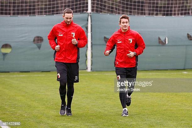 Tim Matavz and Paul Verhaegh attends a training session of FC Augsburg training camp on January 12 2015 in Belek Turkey