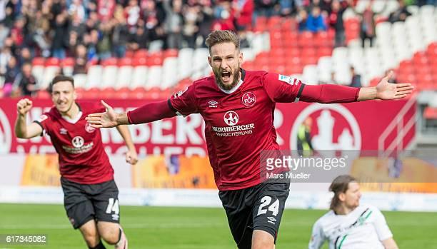 Tim Matavz of 1 FC Nuernberg celebrates the opening goal during the Second Bundesliga match between 1 FC Nuernberg and Hannover 96 at Arena Nuernberg...