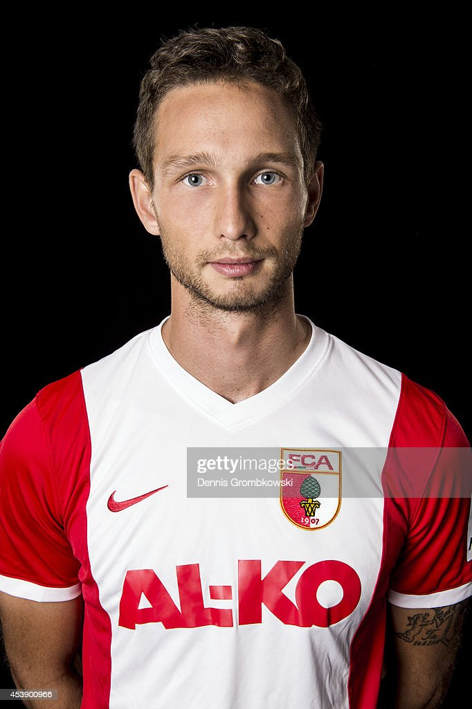 Tim Matavz of FC Augsburg poses during a photo call on August 11, 2014 in Munich, Germany.