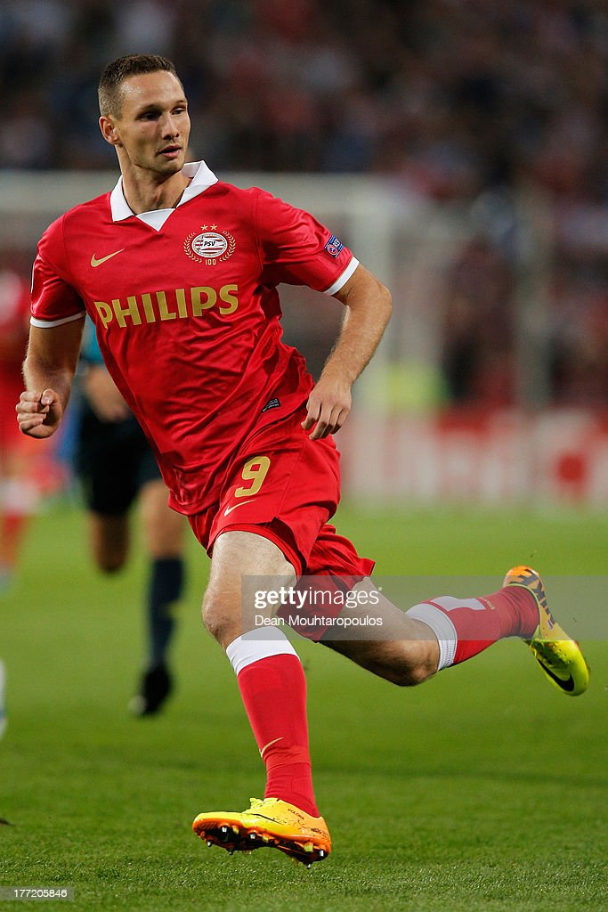 Tim Matavz of PSV in action during the UEFA Champions League Play-off First Leg match between PSV Eindhoven and AC Milan at PSV Stadion on August 20, 2013 in Eindhoven, Netherlands.