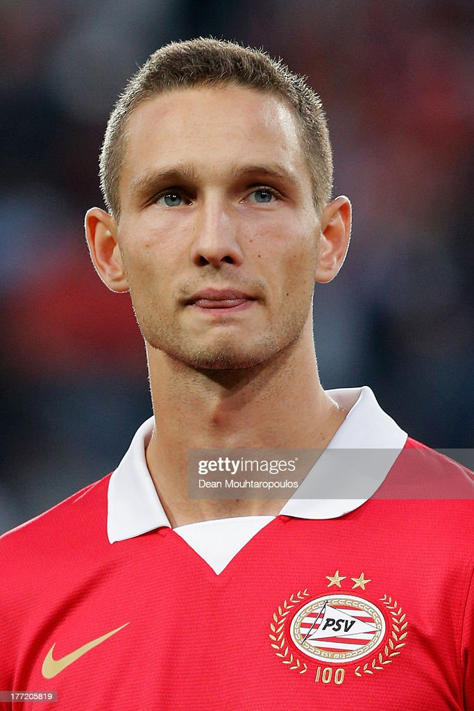 Tim Matavz of PSV looks on prior to the UEFA Champions League Play-off First Leg match between PSV Eindhoven and AC Milan at PSV Stadion on August 20, 2013 in Eindhoven, Netherlands.