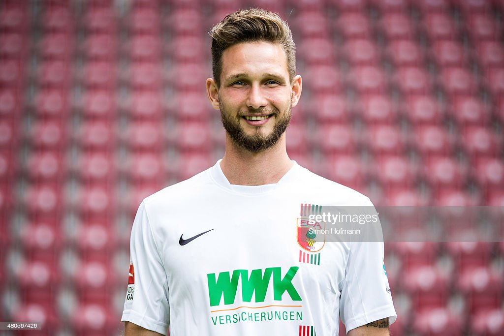 Tim Matavz poses during the FC Augsburg Team Presentation at WWK-Arena on July 8, 2015 in Augsburg, Germany.