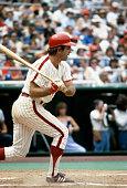 Tim McCarver of the Philadelphia Phillies bats during an Major League Baseball game circa 1979 at Veterans Stadium in Philadelphia Pennsylvania...