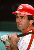 Tim McCarver of the Philadelphia Phillies looks on during batting practice prior to the start of a Major League Baseball game circa 1979 at Veterans...