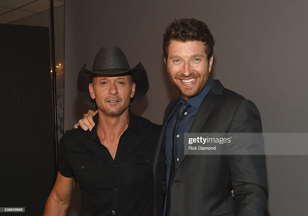 Tim McGraw and Brett Eldredge attend the 2016 CMT Music awards at the Bridgestone Arena on June 8, 2016 in Nashville, Tennessee.
