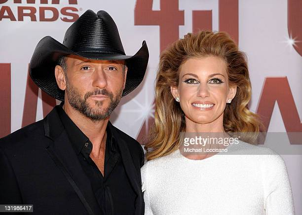 Tim McGraw and Faith Hill attend the 45th annual CMA Awards at the Bridgestone Arena on November 9 2011 in Nashville Tennessee