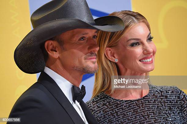 Tim McGraw and Faith Hill attend the 50th annual CMA Awards at the Bridgestone Arena on November 2 2016 in Nashville Tennessee