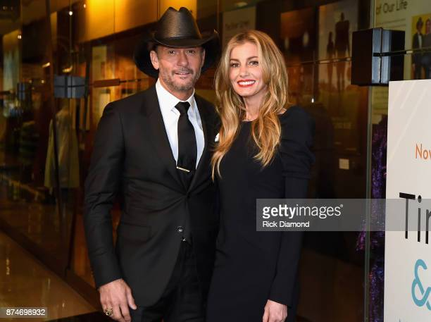 Tim McGraw and Faith Hill attend the Country Music Hall of Fame and Museum's debut of the Tim McGraw and Faith Hill Exhibition on November 15 2017 in...