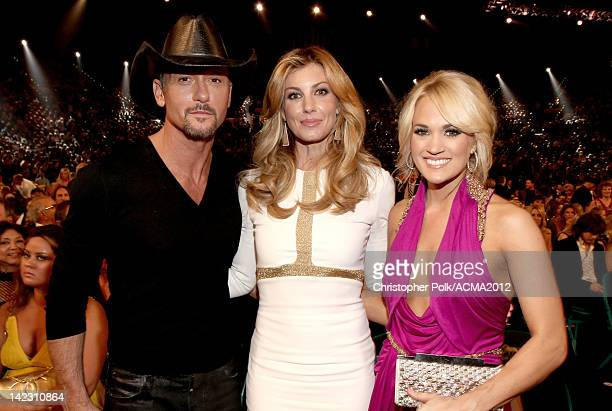 Tim McGraw Faith Hill and Carrie Underwood attend the 47th Annual Academy Of Country Music Awards held at the MGM Grand Garden Arena on April 1 2012...