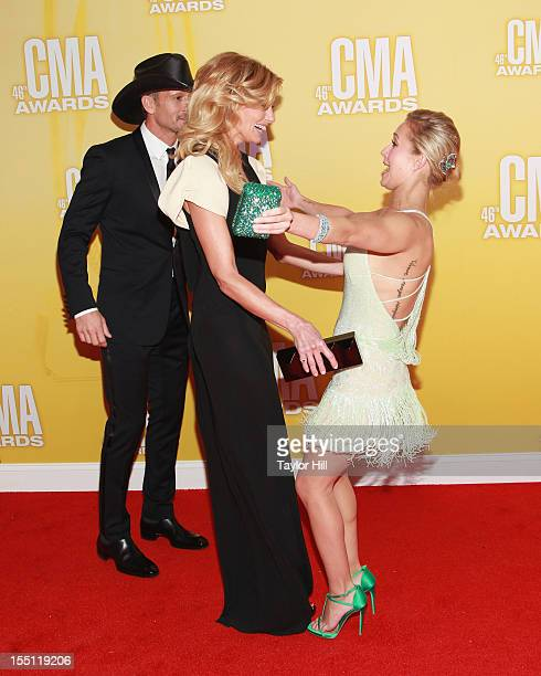 Tim McGraw Faith Hill and Hayden Panettiere attend the 46th annual CMA Awards at the Bridgestone Arena on November 1 2012 in Nashville Tennessee