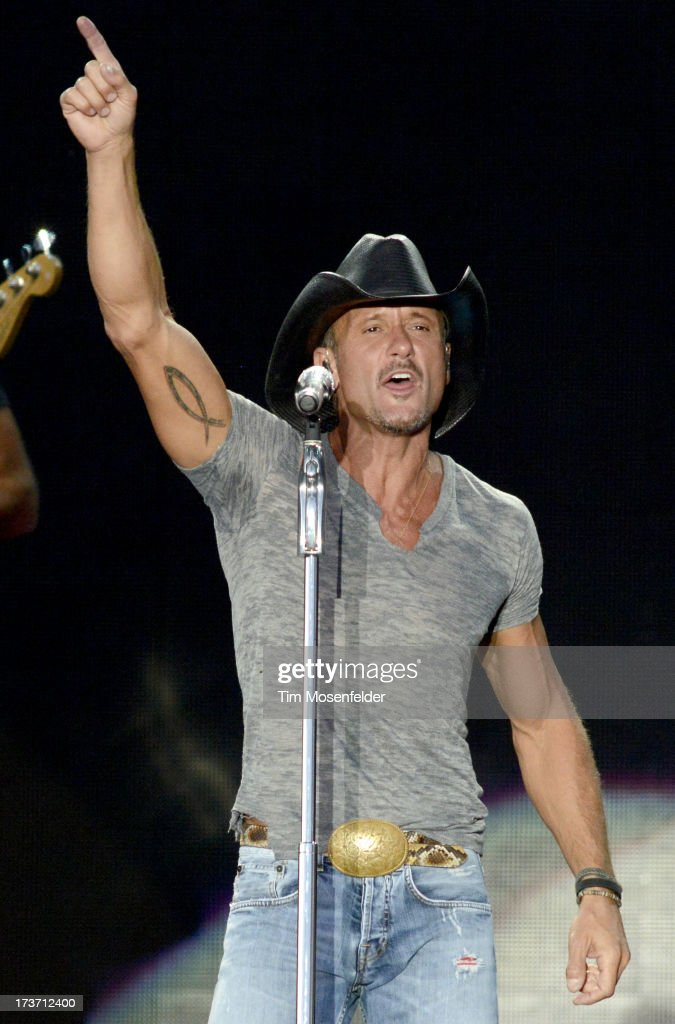 Tim McGraw performs during his Two Lanes of Freedom Tour at the Lake Tahoe Outdoor Arena at Harveys on July 16, 2013 in Stateline, Nevada.