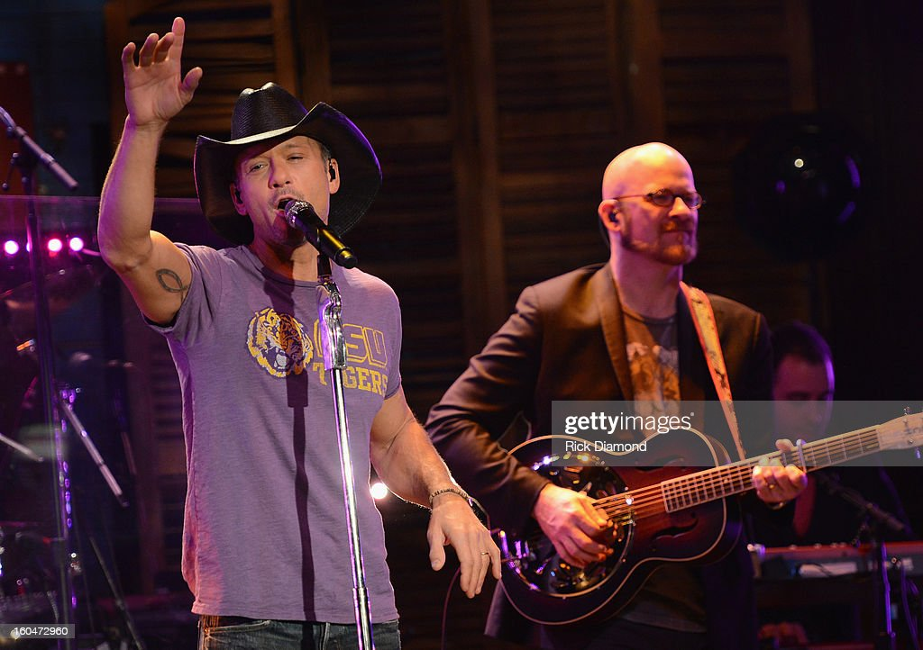 <a gi-track='captionPersonalityLinkClicked' href=/galleries/search?phrase=Tim+McGraw&family=editorial&specificpeople=202845 ng-click='$event.stopPropagation()'>Tim McGraw</a> performs on ABC's 'Good Morning America' at the House of Blues on February 1, 2013 in New Orleans, Louisiana.
